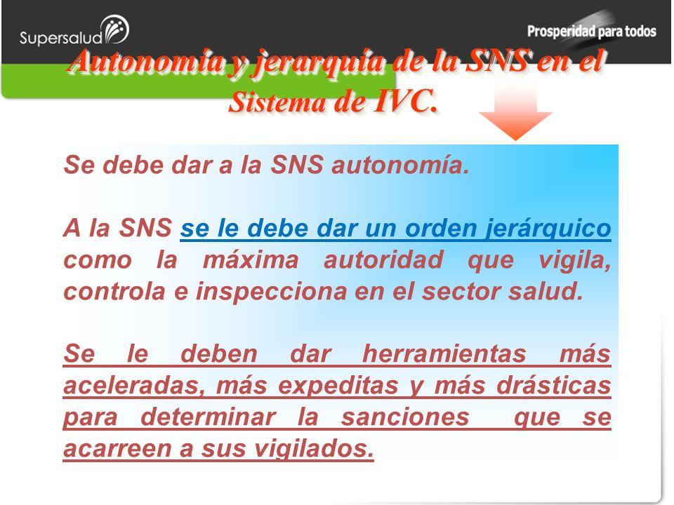 Autonomía y jerarquía de la SNS en el Sistema de IVC.