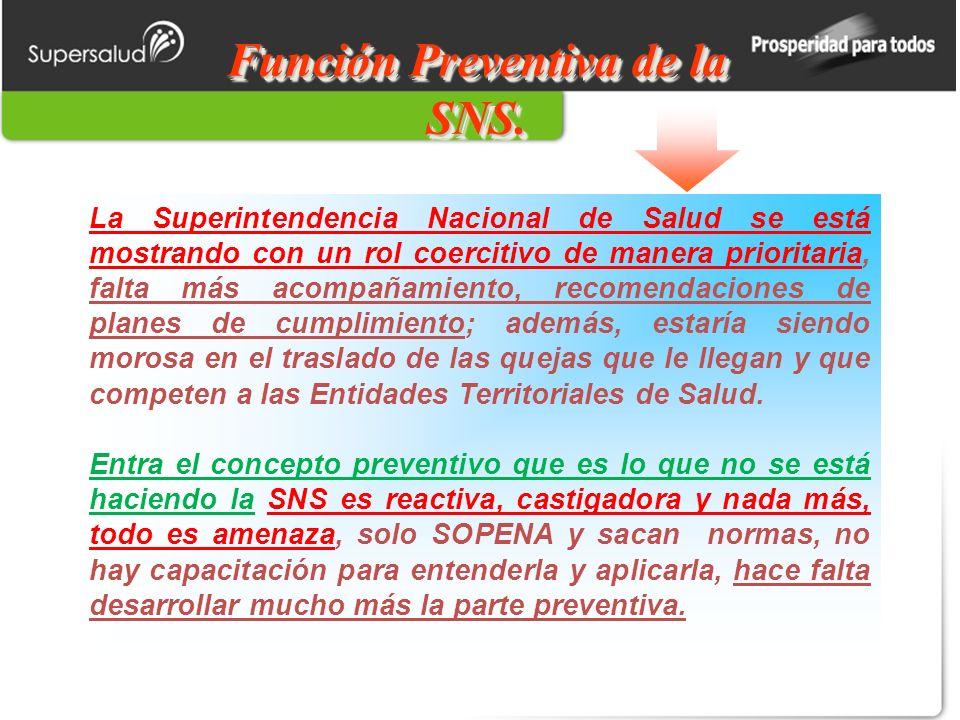 Función Preventiva de la SNS.