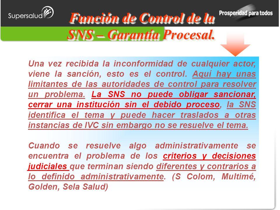 Función de Control de la SNS – Garantía Procesal.