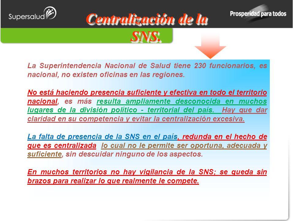 Centralización de la SNS.