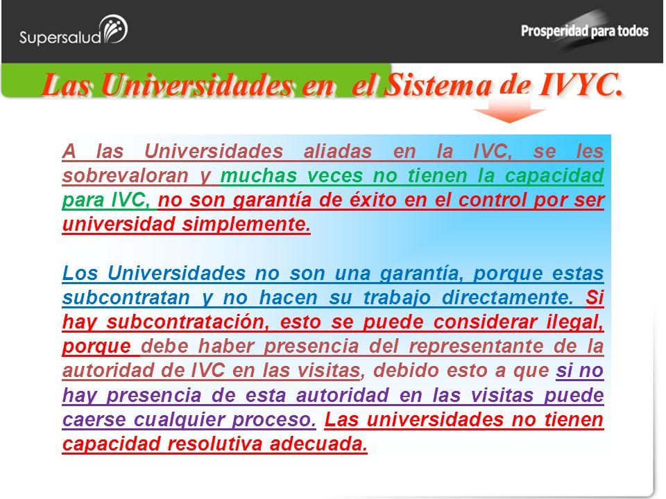 Las Universidades en el Sistema de IVYC.