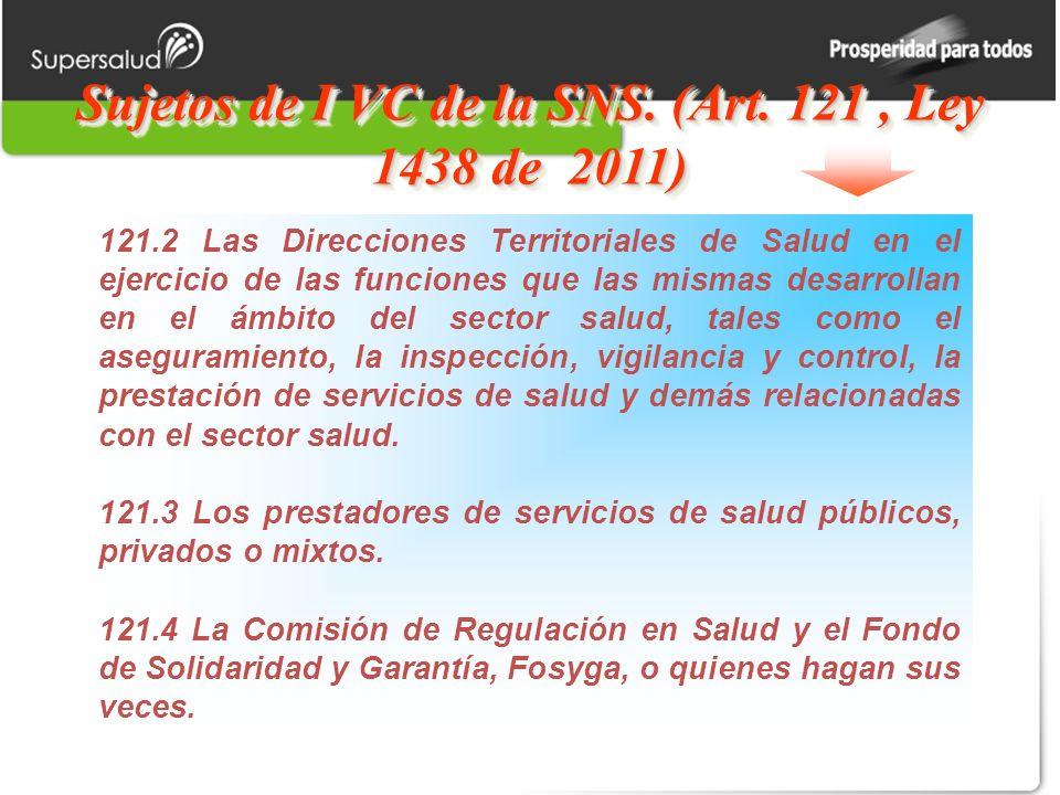 Sujetos de I VC de la SNS. (Art. 121 , Ley 1438 de 2011)