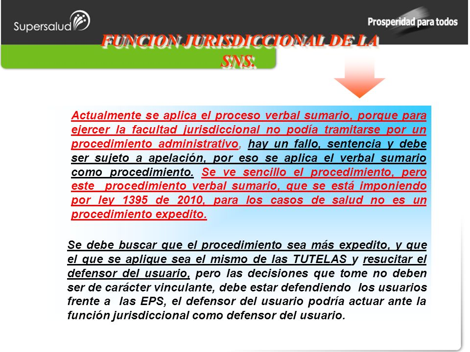 FUNCION JURISDICCIONAL DE LA SNS.