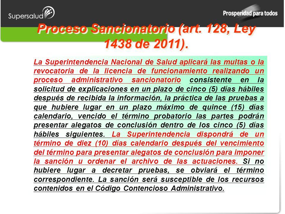 Proceso Sancionatorio (art. 128, Ley 1438 de 2011).
