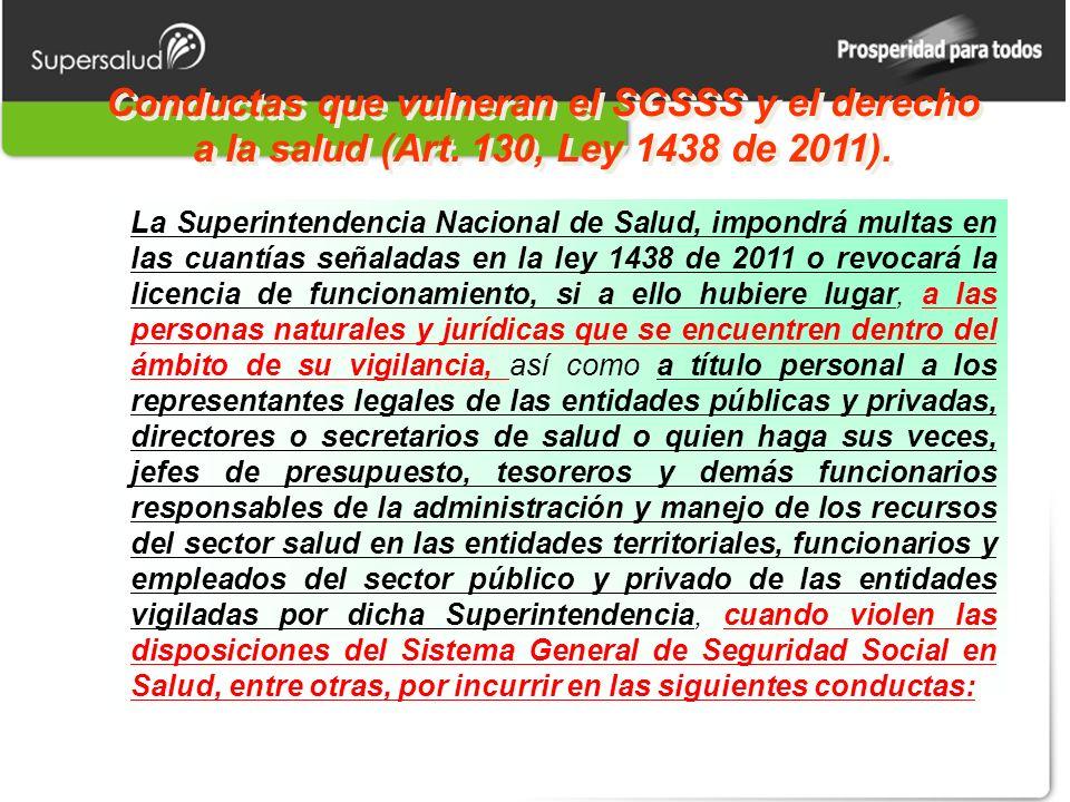 Conductas que vulneran el SGSSS y el derecho a la salud (Art