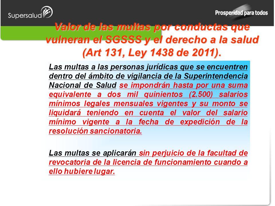 Valor de las multas por conductas que vulneran el SGSSS y el derecho a la salud (Art 131, Ley 1438 de 2011).