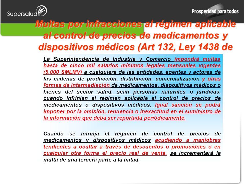 Multas por infracciones al régimen aplicable al control de precios de medicamentos y dispositivos médicos (Art 132, Ley 1438 de 2011).