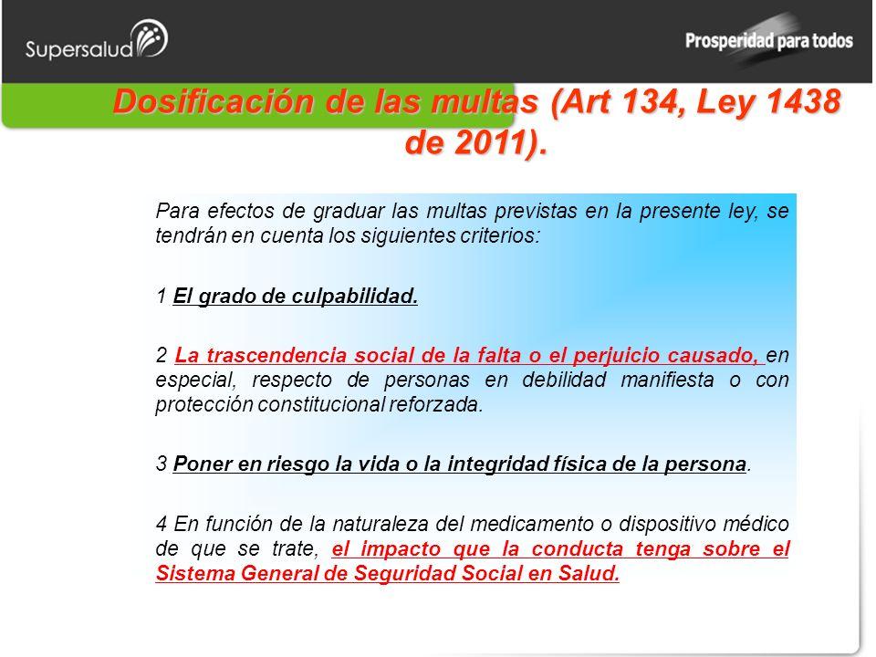 Dosificación de las multas (Art 134, Ley 1438 de 2011).