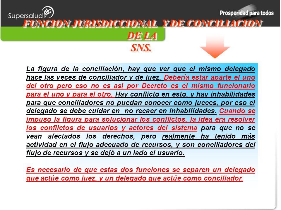 FUNCION JURISDICCIONAL Y DE CONCILIACION DE LA SNS.