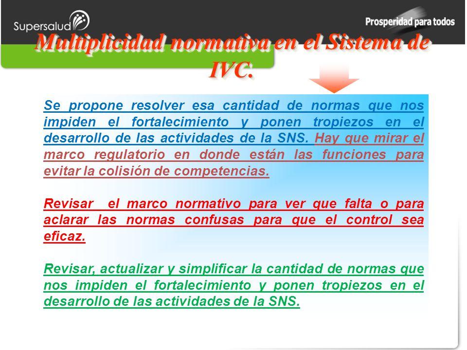 Multiplicidad normativa en el Sistema de IVC.