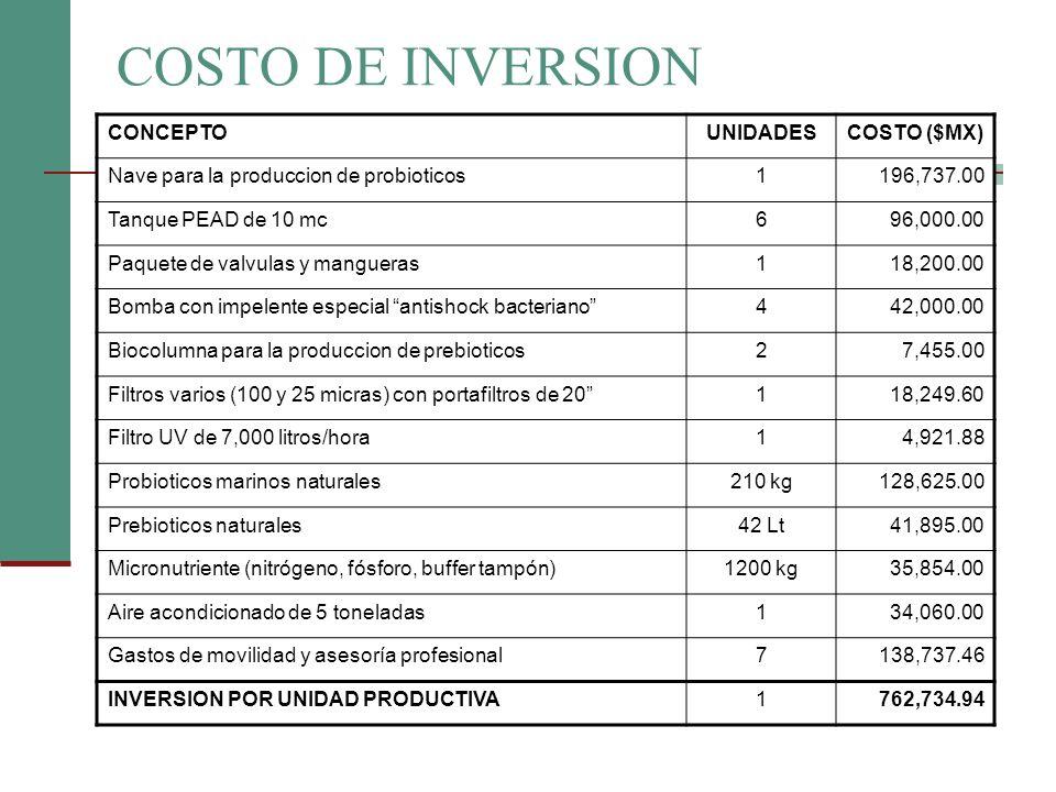 COSTO DE INVERSION CONCEPTO UNIDADES COSTO ($MX)