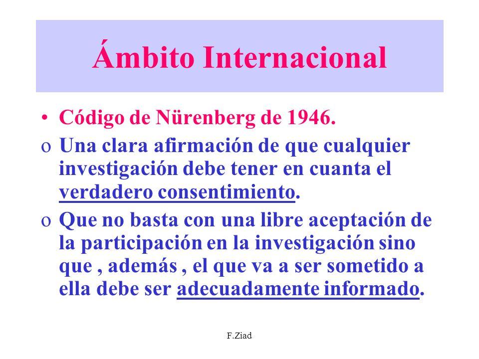 Ámbito Internacional Código de Nürenberg de 1946.