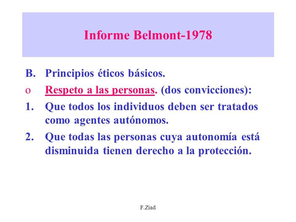 Informe Belmont-1978 Principios éticos básicos.