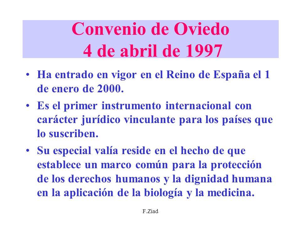 Convenio de Oviedo 4 de abril de 1997