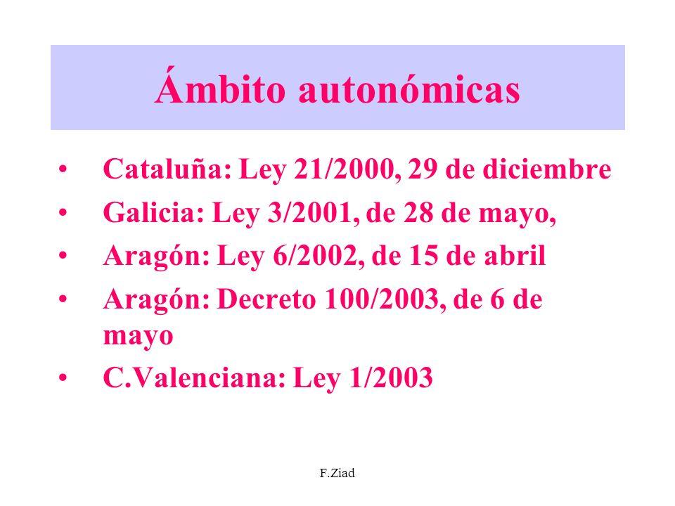 Ámbito autonómicas Cataluña: Ley 21/2000, 29 de diciembre