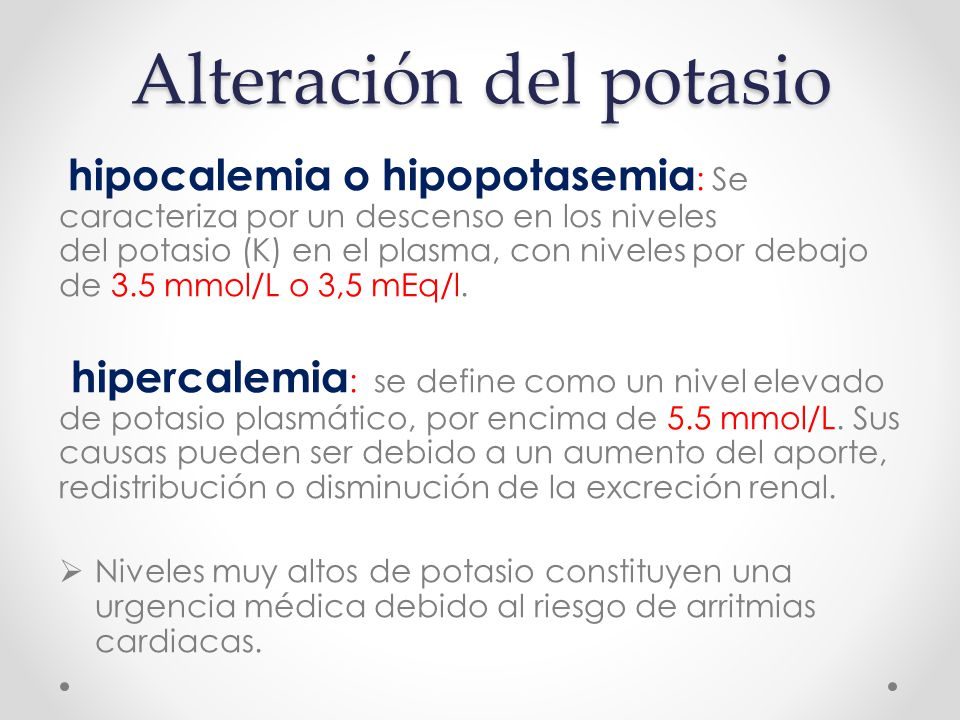 Alteración del potasio