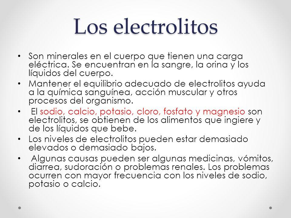 Los electrolitos Son minerales en el cuerpo que tienen una carga eléctrica. Se encuentran en la sangre, la orina y los líquidos del cuerpo.