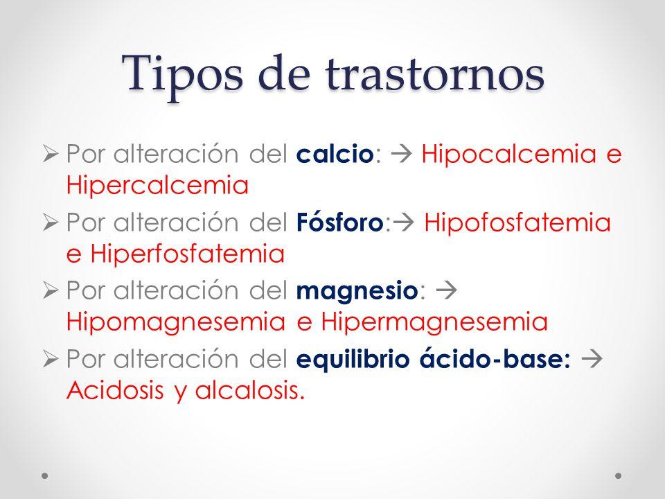Tipos de trastornos Por alteración del calcio:  Hipocalcemia e Hipercalcemia. Por alteración del Fósforo: Hipofosfatemia e Hiperfosfatemia.