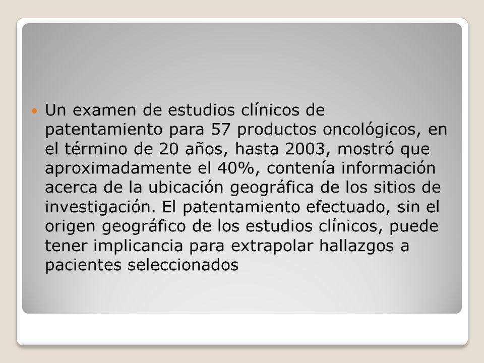 Un examen de estudios clínicos de patentamiento para 57 productos oncológicos, en el término de 20 años, hasta 2003, mostró que aproximadamente el 40%, contenía información acerca de la ubicación geográfica de los sitios de investigación.