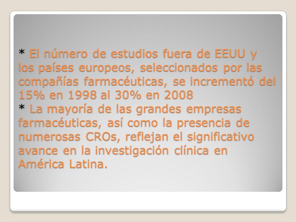 * El número de estudios fuera de EEUU y los países europeos, seleccionados por las compañías farmacéuticas, se incrementó del 15% en 1998 al 30% en 2008 * La mayoría de las grandes empresas farmacéuticas, así como la presencia de numerosas CROs, reflejan el significativo avance en la investigación clínica en América Latina.