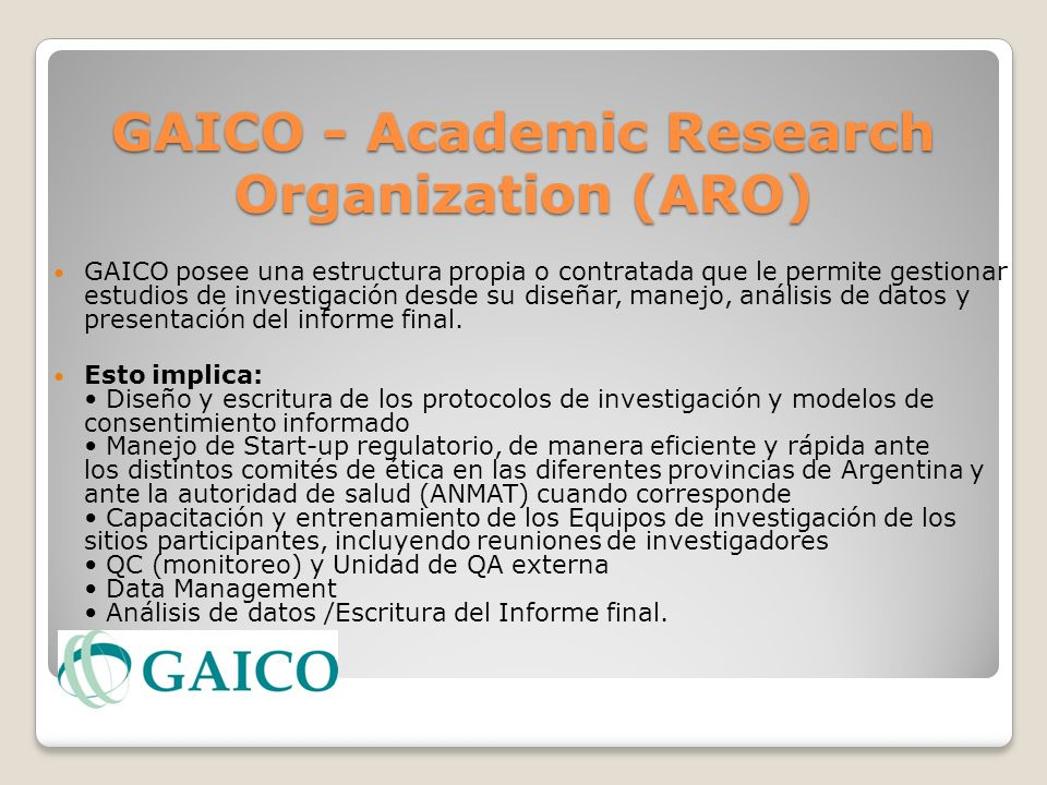 GAICO - Academic Research Organization (ARO)
