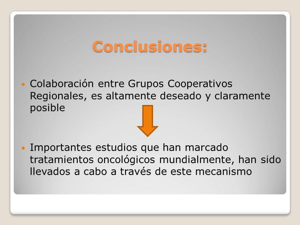 Conclusiones: Colaboración entre Grupos Cooperativos Regionales, es altamente deseado y claramente posible.