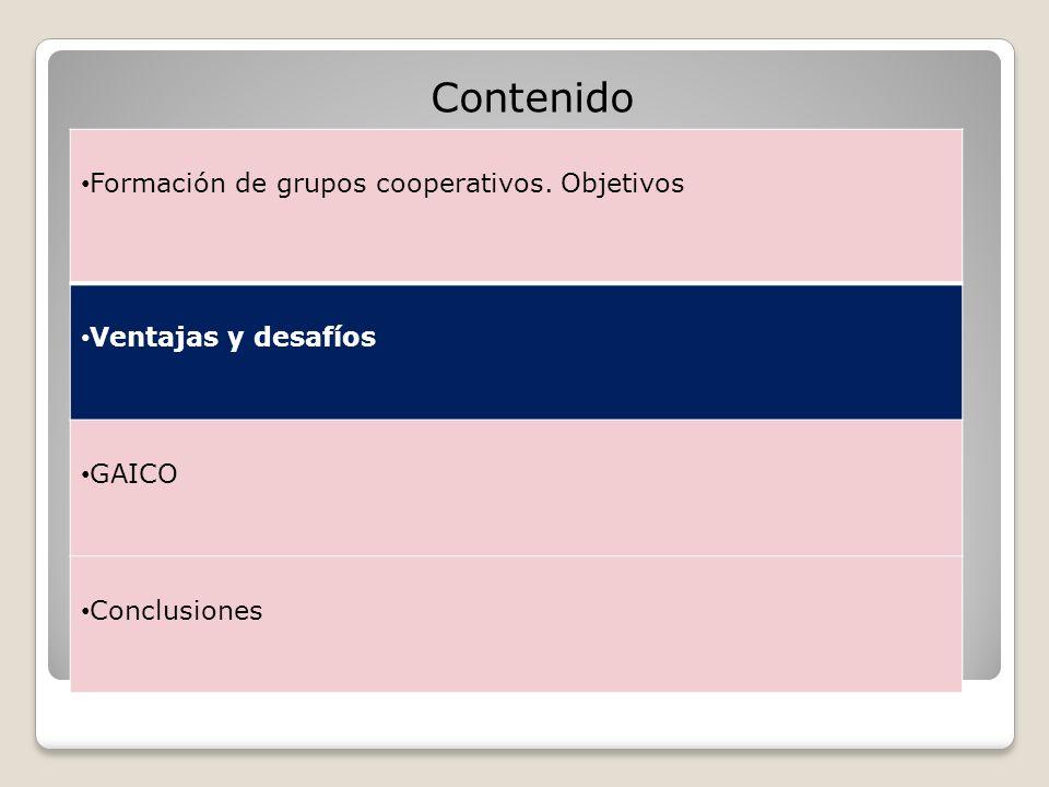 Contenido Formación de grupos cooperativos. Objetivos
