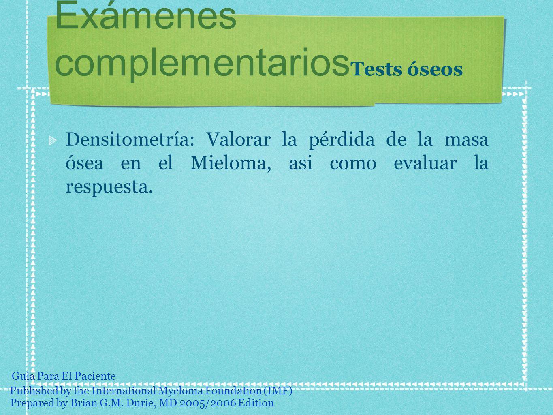 Exámenes complementariosTests óseos