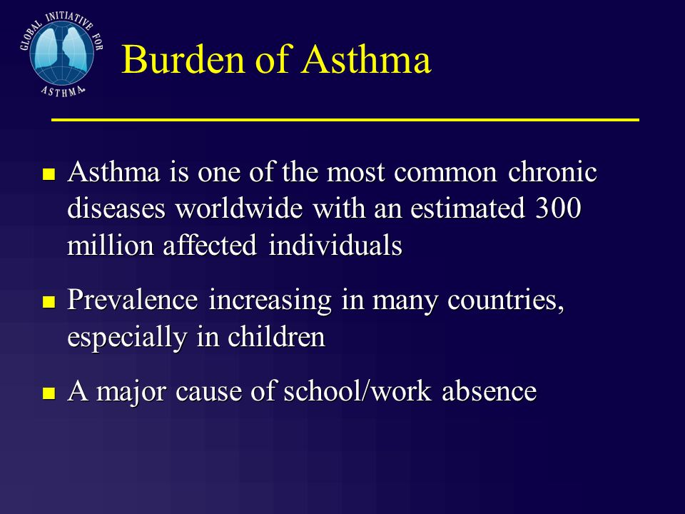 Burden of AsthmaAsthma is one of the most common chronic diseases worldwide with an estimated 300 million affected individuals.