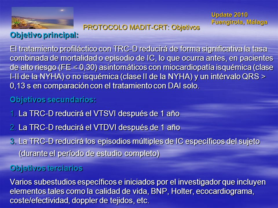 PROTOCOLO MADIT-CRT: Objetivos