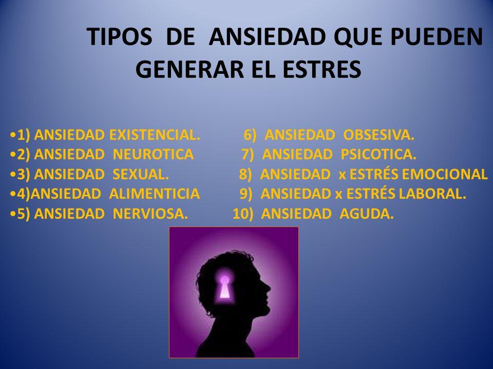 TIPOS DE ANSIEDAD QUE PUEDEN