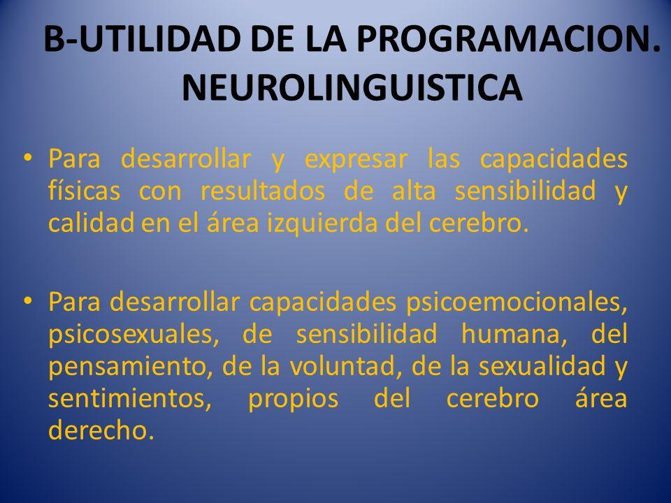 B-UTILIDAD DE LA PROGRAMACION. NEUROLINGUISTICA