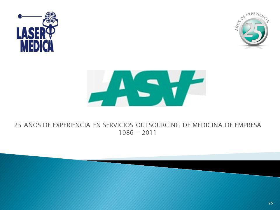 25 AÑOS DE EXPERIENCIA EN SERVICIOS OUTSOURCING DE MEDICINA DE EMPRESA