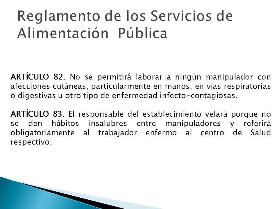 Reglamento de los Servicios de Alimentación Pública