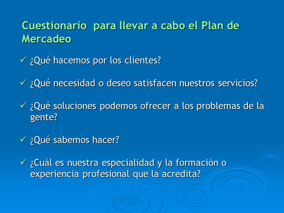 Cuestionario para llevar a cabo el Plan de Mercadeo