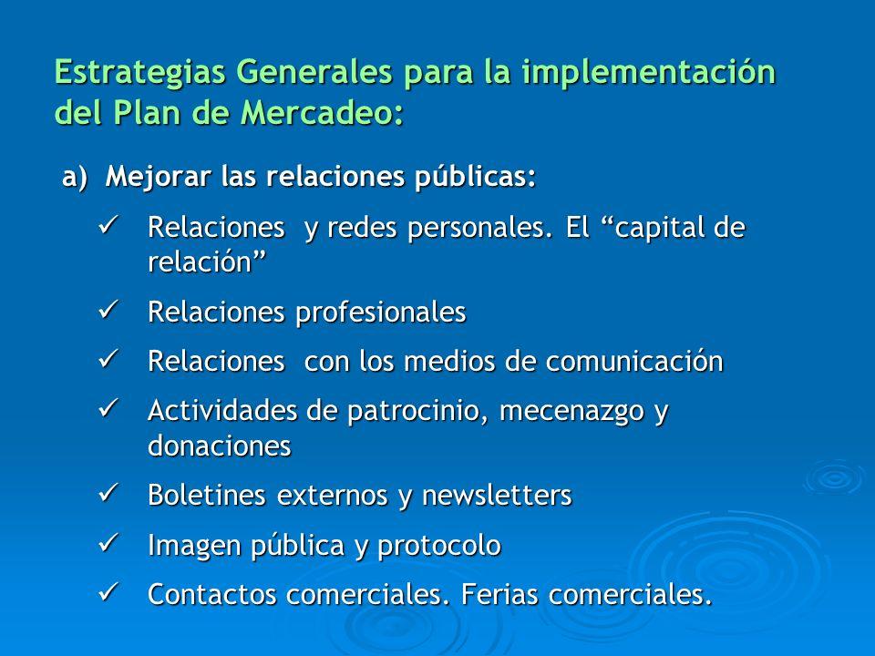 Estrategias Generales para la implementación del Plan de Mercadeo: