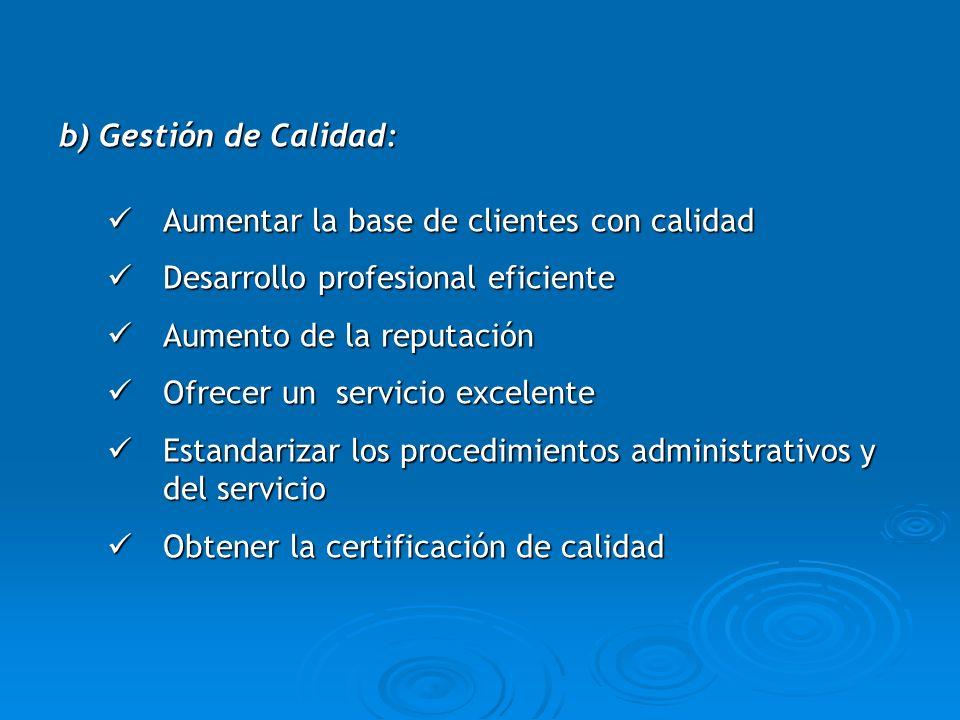 b) Gestión de Calidad:Aumentar la base de clientes con calidad. Desarrollo profesional eficiente. Aumento de la reputación.