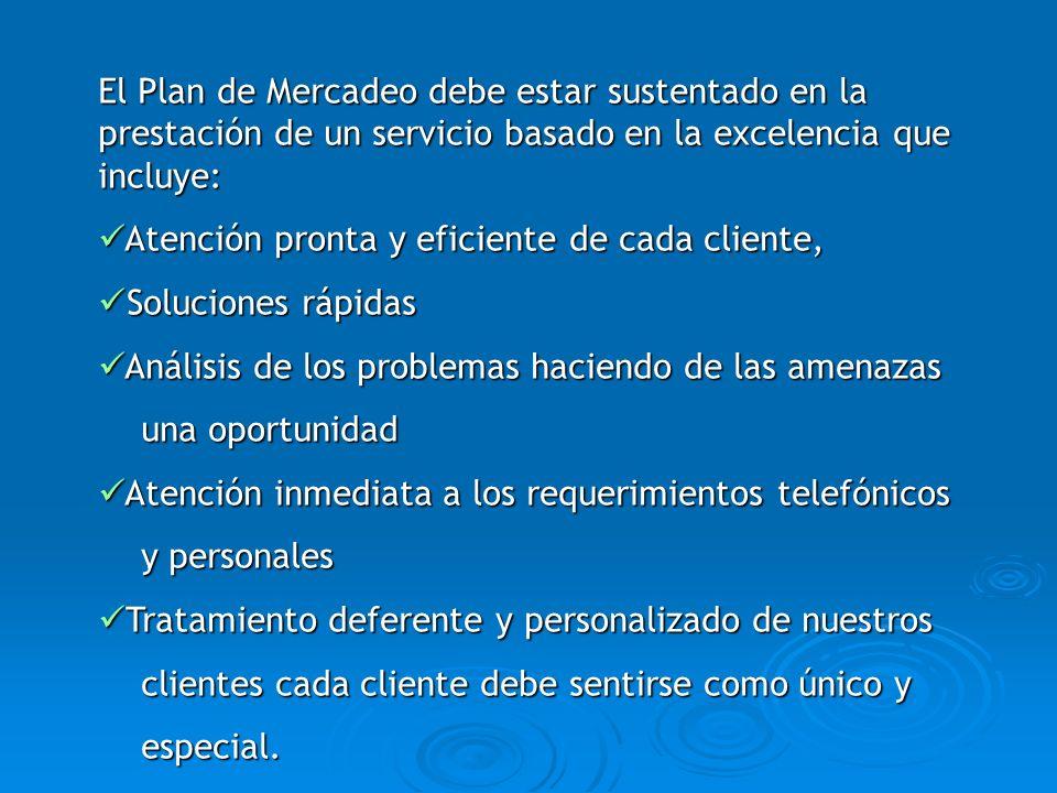 El Plan de Mercadeo debe estar sustentado en la prestación de un servicio basado en la excelencia que incluye:
