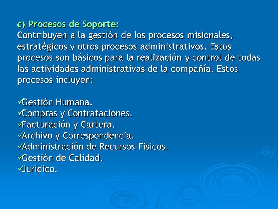 c) Procesos de Soporte: