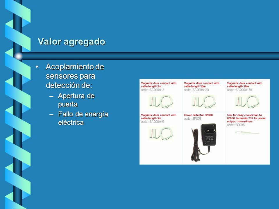 Valor agregado Acoplamiento de sensores para detección de: