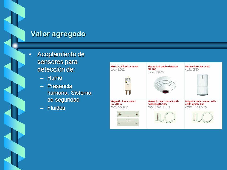 Valor agregado Acoplamiento de sensores para detección de: Humo