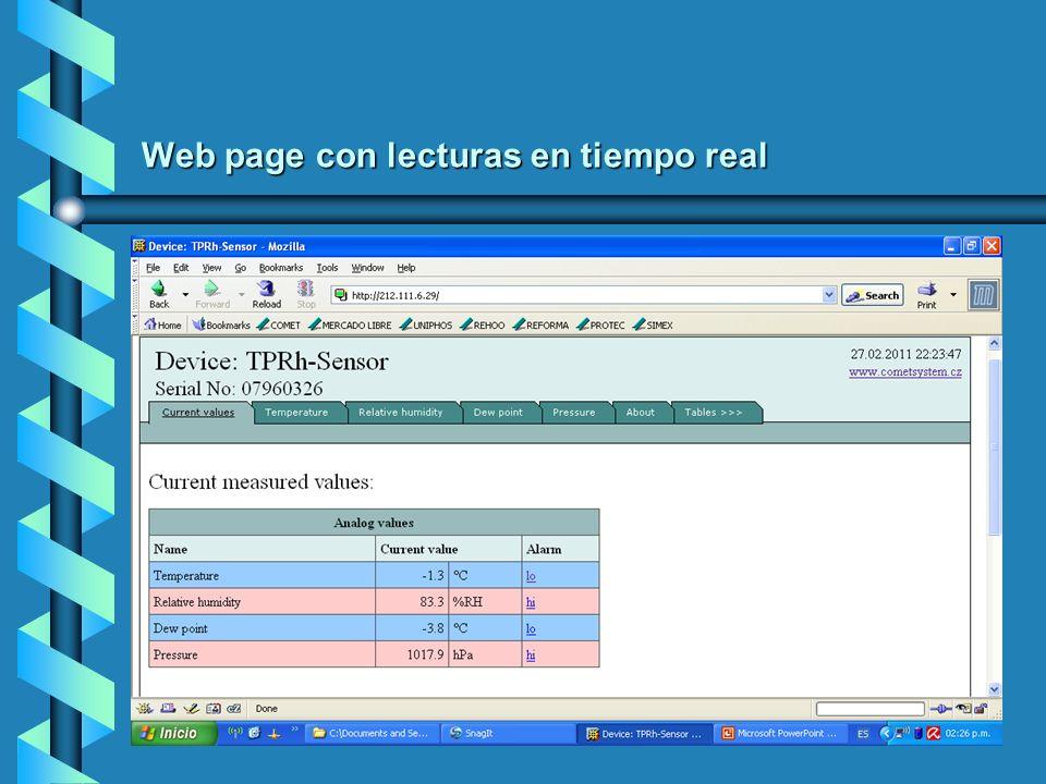 Web page con lecturas en tiempo real