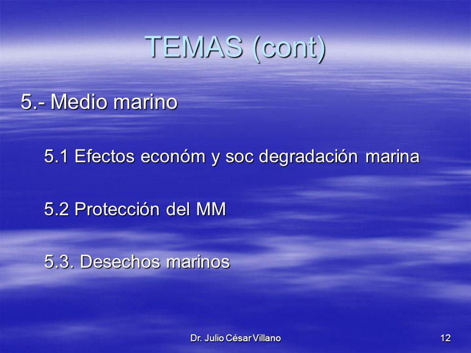 TEMAS (cont) 5.- Medio marino