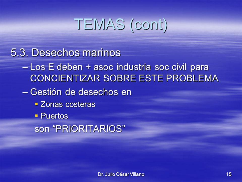 TEMAS (cont) 5.3. Desechos marinos