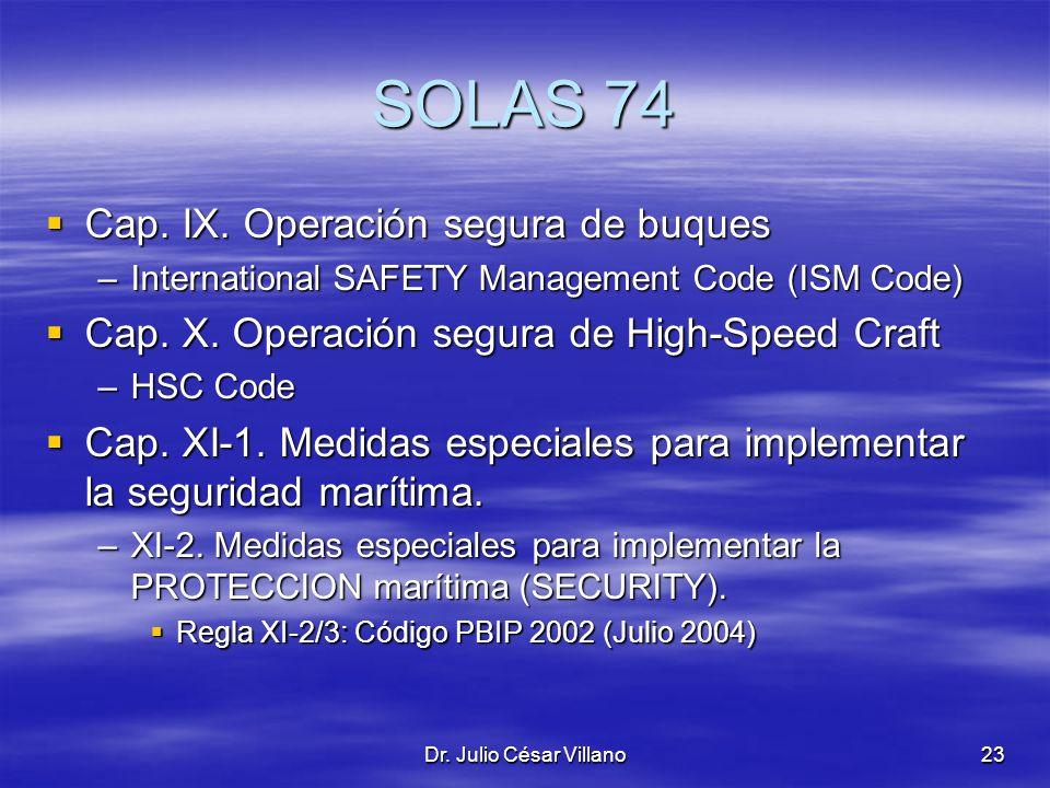 SOLAS 74 Cap. IX. Operación segura de buques