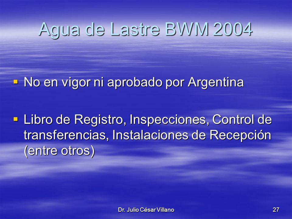 Agua de Lastre BWM 2004 No en vigor ni aprobado por Argentina