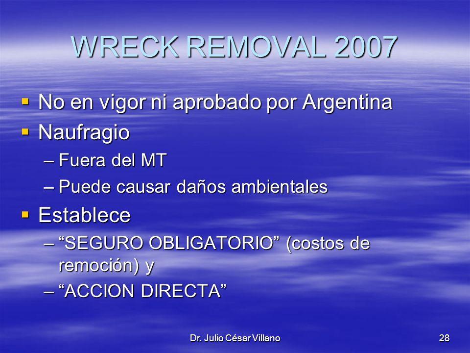 WRECK REMOVAL 2007 No en vigor ni aprobado por Argentina Naufragio