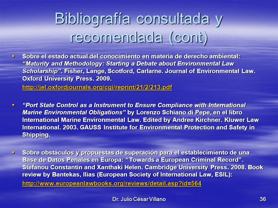 Bibliografía consultada y recomendada (cont)