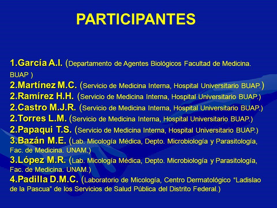 PARTICIPANTES 1.García A.I. (Departamento de Agentes Biológicos Facultad de Medicina. BUAP )