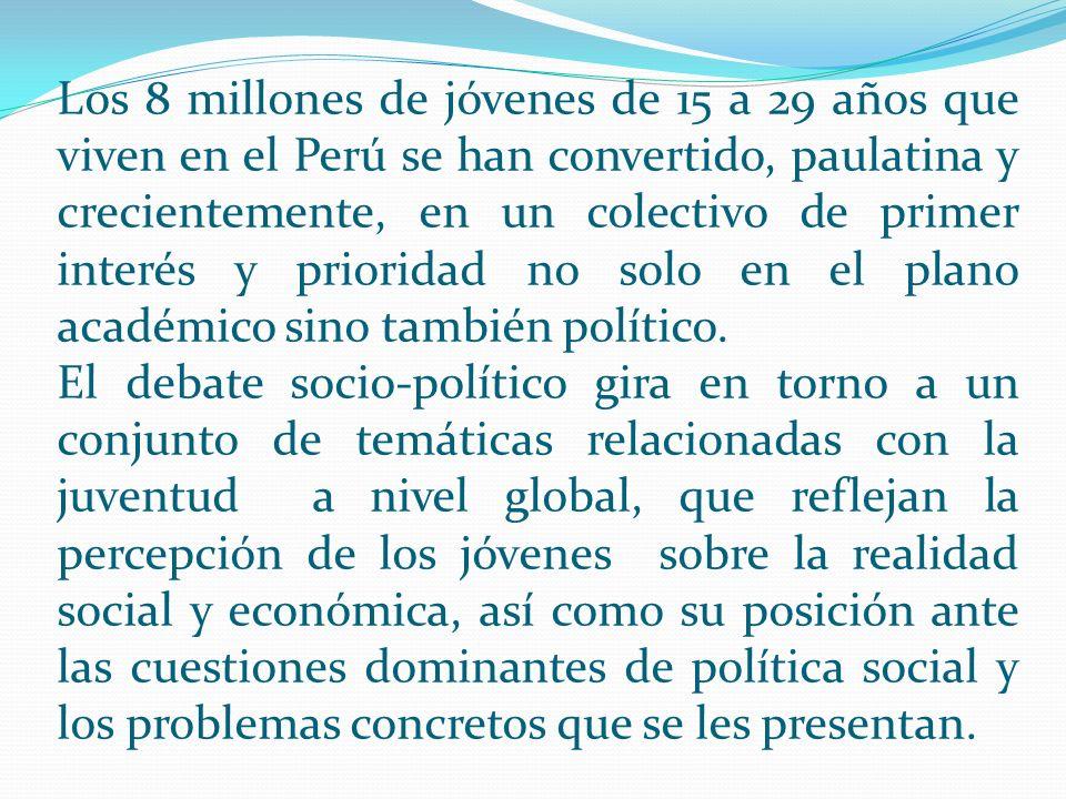 Los 8 millones de jóvenes de 15 a 29 años que viven en el Perú se han convertido, paulatina y crecientemente, en un colectivo de primer interés y prioridad no solo en el plano académico sino también político.